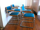 4 Marcel Breuer Cesca Dining Chairs 80s Teal Blue Cantalivered Thonet Arm Chairs