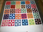 Vtg fabric material Lot 30 HAND SEWN goose tracks QUILT BLOCKS 13.5
