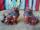 Pair of Chinese Dynasty Foo Dogs (Lions) Solid Heavy Resin Stone 5.5