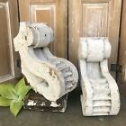 Antique Carved Wood Corbels Brackets Architectural Salvage White Chippy Paint