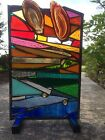 Stained Glass Window Rainbow Abstract Suncatcher With Brazilian Agate OOAK