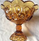 . Moon and Star Pattern Glass Fruit Compote Bowl, Vintage Amber Glass Dish