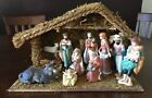 Vintage 12 Pc Large Wood Creche w Porcelain Figurines Christmas Nativity Set