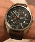 Used Seiko Men's Black Dial Stainless Steel Chronograph Watch Great Condition