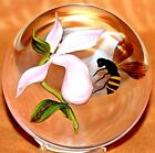 FACINATING Victor TRABUCCO Pink ORCHID Flower HONEY BEE Art Glass PAPERWEIGHT
