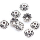 100Pcs Tibet Silver Plated Round Flower Spacer Bead Caps Antiqued Jewelry Making