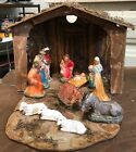 Vintage Nativity set with cardboard manger Chalkware animals