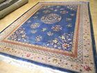CHINESE RUG 9x12 VINTAGE AUBUSSON PEKIN AUTHENTIC HAND-MADE ORIENTAL RUG 1960's
