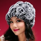 Fur Winter Hats For Women Floral Flower Thick Knitted Soft Comfy Trendy Beanies