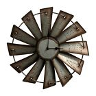 Giannas Home Rustic Farmhouse Country Metal Windmill Wall Clock