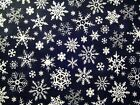 1 4 Yard Fabric Quilting Black White Christmas Snowflakes 100 Cotton