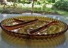 Indiana Glass Amber Ribbed 4 Part Divided 10