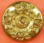 Antique GOLDEN AGE Brass Button FOUR Roses with INCISED Leaves SCOVILL EXTRA #96