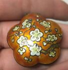 VINTAGE CHINESE STERLING SILVER ENAMEL CHERRY BLOSSOM FLOWER PILL BOX