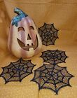 Heritage Lace Gothic Halloween Spider Web 6 Inch Doily Set FOUR per set