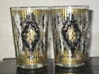 Pair of Vintage Mid Century Gold and Black Cocktail Bar or Juice Glasses
