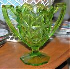 Beautiful Vintage INDIANA GLASS LOVING CUP Lime Green Monticello Spooner USA
