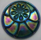 Vintage Blue Iridescent Carnival Glass Egg Dish/Relish Platter/Tray/Plate, 13