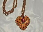 "Big Puffy Heart or Grapes Goldtone Pendanr with Chain, signed ""Napier"""