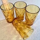 """ Diamond Optic Honeycomb Amber Glasses Tumblers. NO CHIPS"