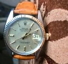 Rolex Two Tone Gold Steel Datejust 16013 Vintage Champagne Linen Leather Strap
