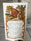 VTG LINEN CALENDAR 1968 FALL OLORED GRISMILL WITH DOWEL AND ROPE Never Used
