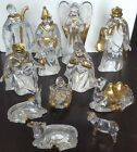 Holiday Lane Acrylic Clear Nativity Set of 11 Gold Accents