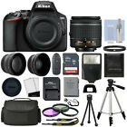 Nikon D3500 Digital SLR Camera Black + 3 Lens 18 55mm VR Lens + 32GB Bundle