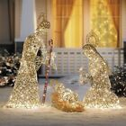 3 Pc Outdoor Christmas Nativity Set Lighted Grapevine Style Holiday Scene Decor