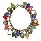 Sweet Romance Candy Glass Hearts Charm Bracelet Made in USA