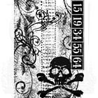 Tim Holtz Stampers Anonymous ATC Cling Rubber Stamp Halloween SKULL HTF