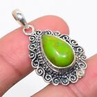 """Copper Green Turquoise 925 Sterling Silver Vintaage Style Pendant 1.46""""(3)_R"""