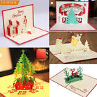 5 Pack Merry Christmas Tree 3D Laser Cut Pop Up Paper Greeting Cards Xmas Gift