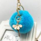 1PC rabbit hair ball pearl rhinestone ballet girl key chain key chain bag pendan