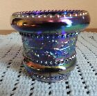 JOE ST CLAIR SIGNED COBALT CARNIVAL GLASS TOOTHPICK HOLDER HOLLY AND BERRY