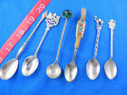VINTAGE MISC SOUVENIR SPOON LOT OF 6, SOME STERLING, NON-US -FREE US SHIPPING
