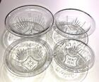 Set of 4 Federal Glass Nesting Mixing Bowls Star Pattern Square Base Rolled Edge