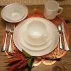 Federal glass, white carnival glass, 7 piece place setting,