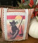 Primitive HANDMADE appliqued WITCH pillow HALLOWEEN DECOR cottage farmhouse