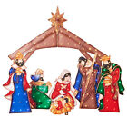 Nativity Scene 3 piece set 2D Glittering Mesh Light Sculpture
