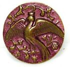 Antique VINTAGE Button Tinted PINK Brass PEACOCK  7/8 A59