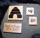 JRL Design SET BEES  Hive Honey of a Day 4 Rubber Stamps