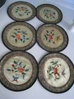 Lot 6 Round Vintage Silk Chinese Beijing Floral Hand Embroidered Coasters 5-1/4