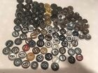 Lot 100 Antique Metal Work Clothes Buttons, no names or backmarks