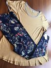 LulaRoe OUTFIT 3XL solid YELLOW blue CLASSIC Tee  TC2 roses floral leggings