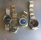 4 Vintage Men's Seiko Citizen Automatic 17 21J Day-Date For parts Or Repair