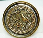 SUPERB VERY Large Antique METAL Picture Button Bird in Garden Plant Life B44