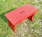 Pine Red Painted Foot Stool 1960s Era Small Vintage