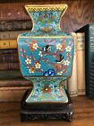 BEAUTIFUL VINTAGE CHINESE CLOISONNE VASE VERY FINE WITH BIRDS