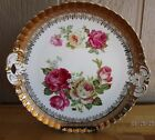 ROSE TRANSFERWARE CAKE PLATE ACCENTED IN GOLD 10